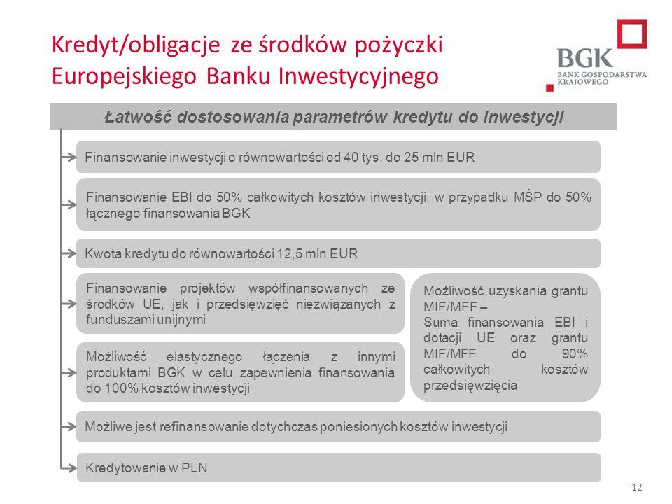 204/204/204 218/32/56 118/126/132 183/32/51 227/30/54 12 Łatwość dostosowania parametrów kredytu do inwestycji Kwota kredytu do równowartości 12,5 mln