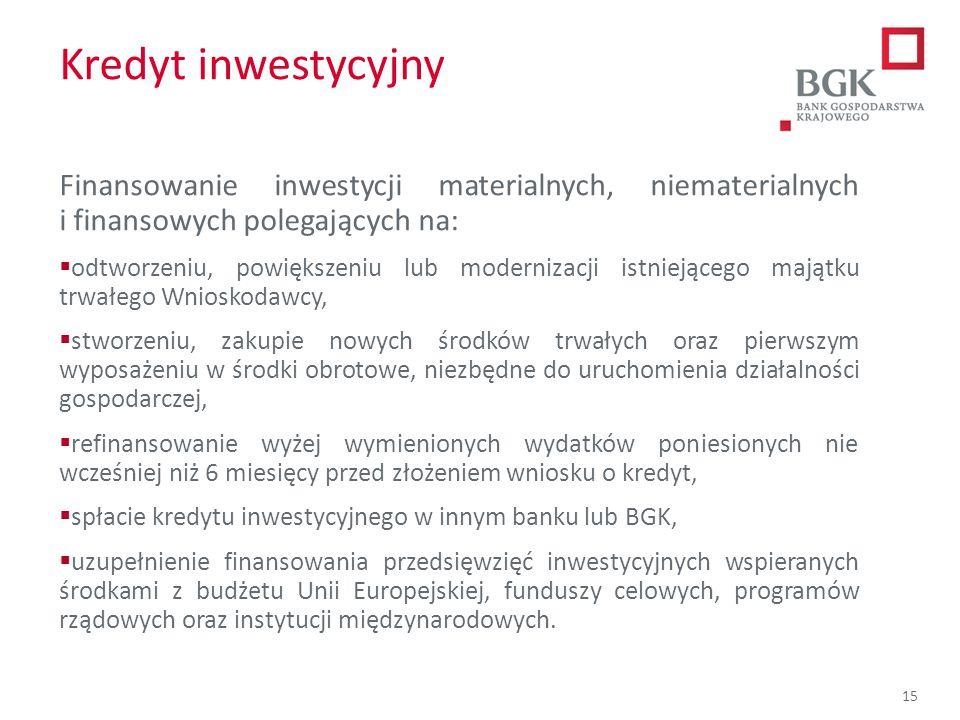 204/204/204 218/32/56 118/126/132 183/32/51 227/30/54 15 Kredyt inwestycyjny Finansowanie inwestycji materialnych, niematerialnych i finansowych poleg