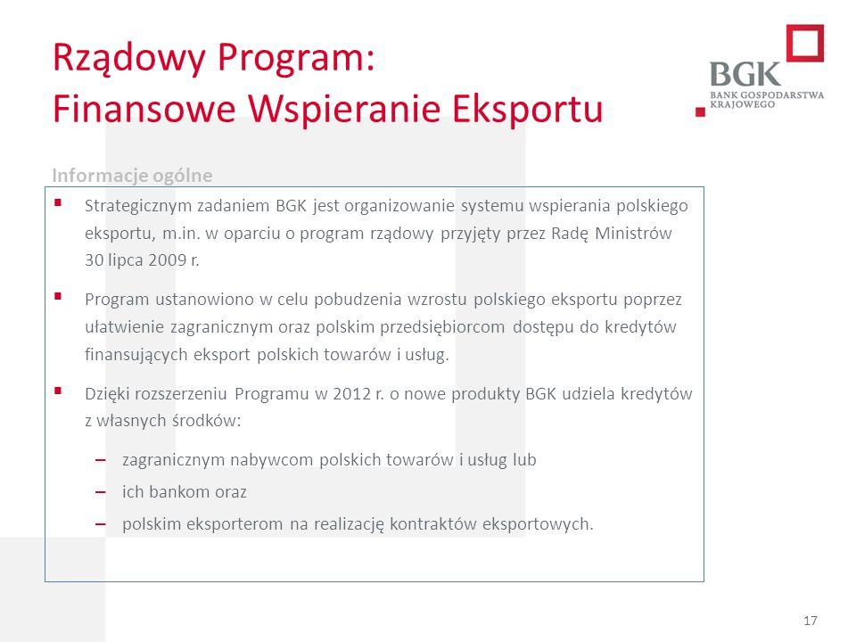 204/204/204 218/32/56 118/126/132 183/32/51 227/30/54 Rządowy Program: Finansowe Wspieranie Eksportu Informacje ogólne  Strategicznym zadaniem BGK je