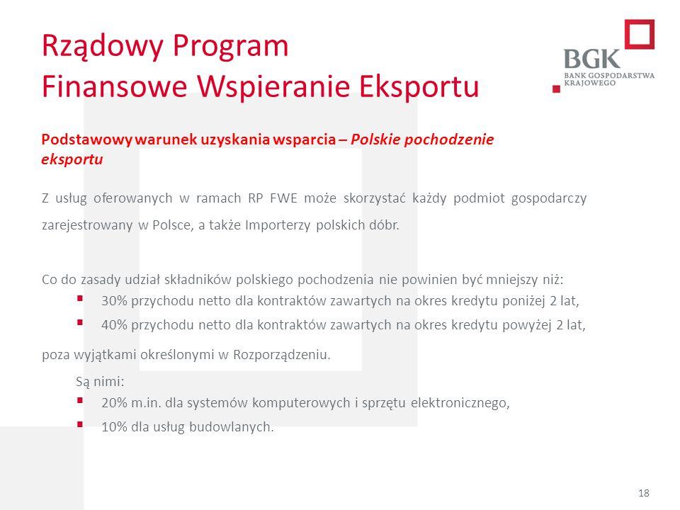 204/204/204 218/32/56 118/126/132 183/32/51 227/30/54 Rządowy Program Finansowe Wspieranie Eksportu Podstawowy warunek uzyskania wsparcia – Polskie po