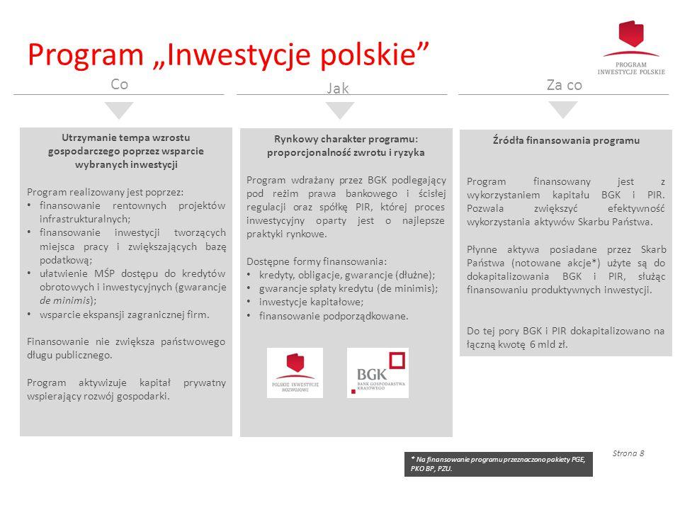 """Strona 8 Program """"Inwestycje polskie"""" Utrzymanie tempa wzrostu gospodarczego poprzez wsparcie wybranych inwestycji Program realizowany jest poprzez: f"""