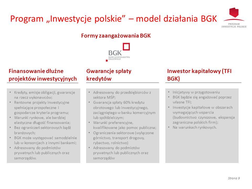 """Strona 9 Program """"Inwestycje polskie"""" – model działania BGK Kredyty, emisje obligacji, gwarancje na rzecz wykonawców; Rentowne projekty inwestycyjne s"""