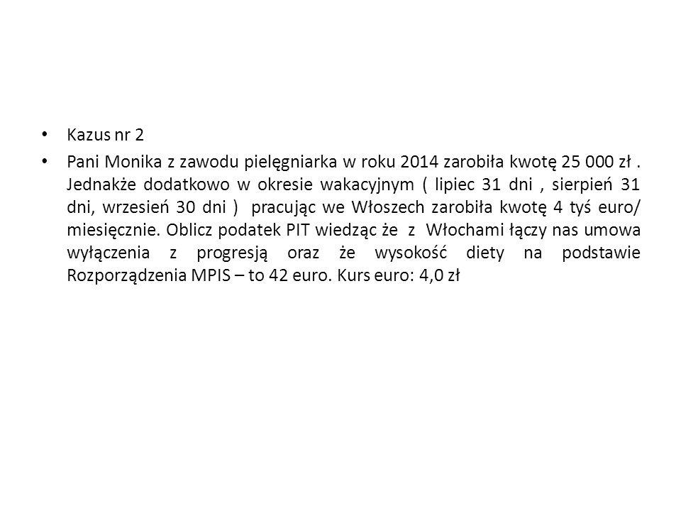Kazus nr 2 Pani Monika z zawodu pielęgniarka w roku 2014 zarobiła kwotę 25 000 zł. Jednakże dodatkowo w okresie wakacyjnym ( lipiec 31 dni, sierpień 3