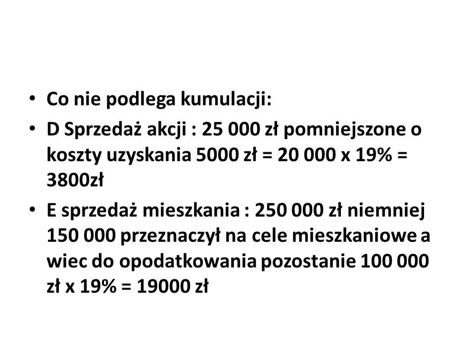 Co nie podlega kumulacji: D Sprzedaż akcji : 25 000 zł pomniejszone o koszty uzyskania 5000 zł = 20 000 x 19% = 3800zł E sprzedaż mieszkania : 250 000