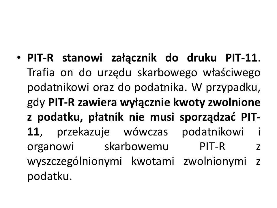 PIT-R stanowi załącznik do druku PIT-11. Trafia on do urzędu skarbowego właściwego podatnikowi oraz do podatnika. W przypadku, gdy PIT-R zawiera wyłąc