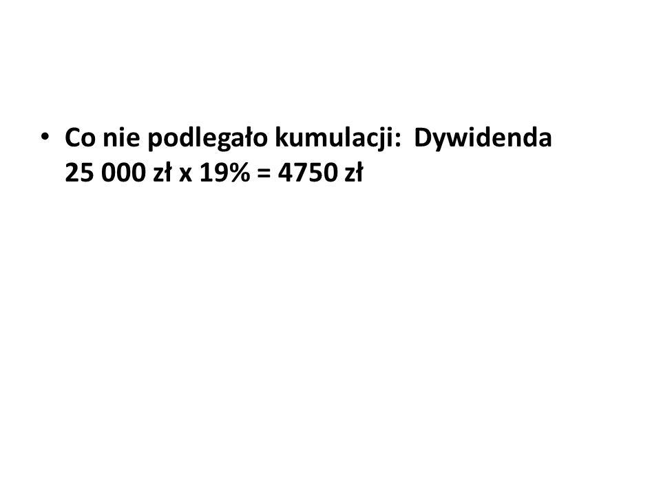 Co nie podlegało kumulacji: Dywidenda 25 000 zł x 19% = 4750 zł