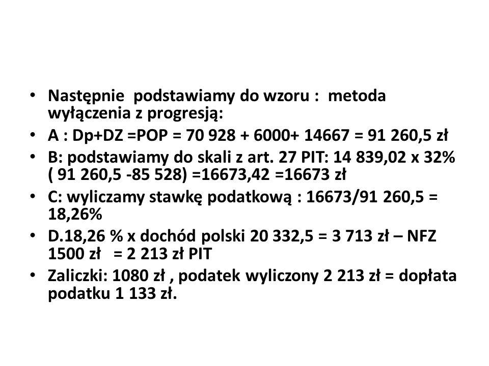 Następnie podstawiamy do wzoru : metoda wyłączenia z progresją: A : Dp+DZ =POP = 70 928 + 6000+ 14667 = 91 260,5 zł B: podstawiamy do skali z art. 27