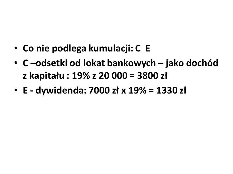 Co nie podlega kumulacji: C E C –odsetki od lokat bankowych – jako dochód z kapitału : 19% z 20 000 = 3800 zł E - dywidenda: 7000 zł x 19% = 1330 zł