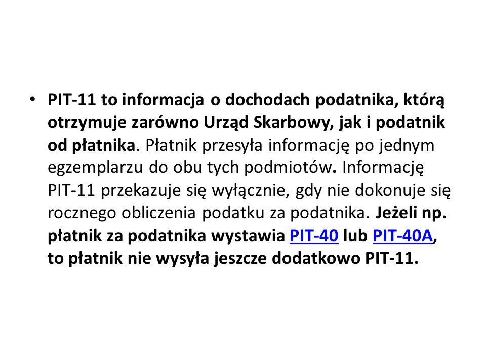 PIT-11 to informacja o dochodach podatnika, którą otrzymuje zarówno Urząd Skarbowy, jak i podatnik od płatnika. Płatnik przesyła informację po jednym