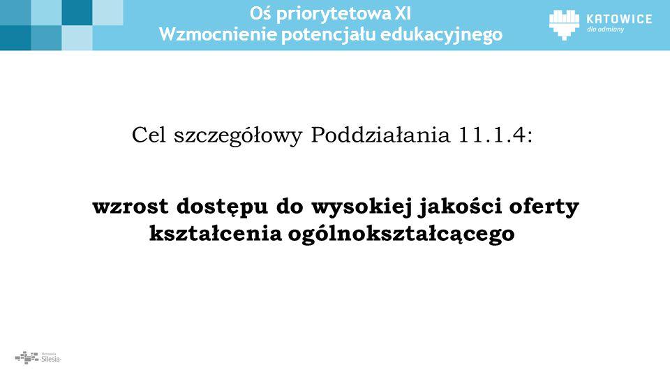 Oś priorytetowa XI Wzmocnienie potencjału edukacyjnego W ramach Osi Priorytetowej II Cyfrowe Śląskie realizowane będzie działanie przyczyniające się do zwiększenia dostępności e-usług publicznych oraz wzrostu liczby osób korzystających z usług i zasobów publicznych udostępnianych on- line w województwie śląskim.