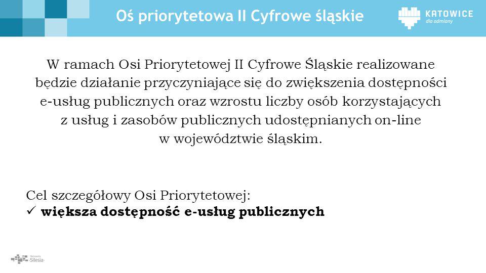 Oś priorytetowa II Cyfrowe śląskie W ramach Osi Priorytetowej II Cyfrowe Śląskie realizowane będzie działanie przyczyniające się do zwiększenia dostępności e-usług publicznych oraz wzrostu liczby osób korzystających z usług i zasobów publicznych udostępnianych on- line w województwie śląskim.