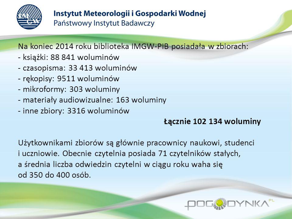 Na koniec 2014 roku biblioteka IMGW-PIB posiadała w zbiorach: - książki: 88 841 woluminów - czasopisma: 33 413 woluminów - rękopisy: 9511 woluminów - mikroformy: 303 woluminy - materiały audiowizualne: 163 woluminy - inne zbiory: 3316 woluminów Łącznie 102 134 woluminy Użytkownikami zbiorów są głównie pracownicy naukowi, studenci i uczniowie.