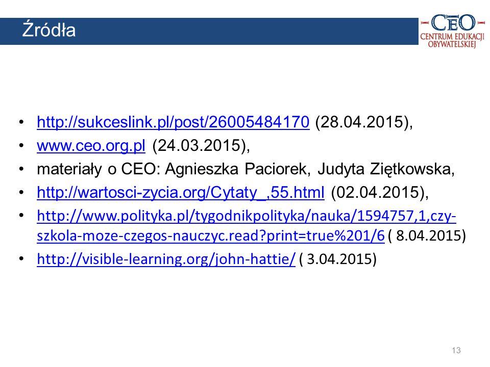 13 Źródła http://sukceslink.pl/post/26005484170 (28.04.2015),http://sukceslink.pl/post/26005484170 www.ceo.org.pl (24.03.2015),www.ceo.org.pl materiał