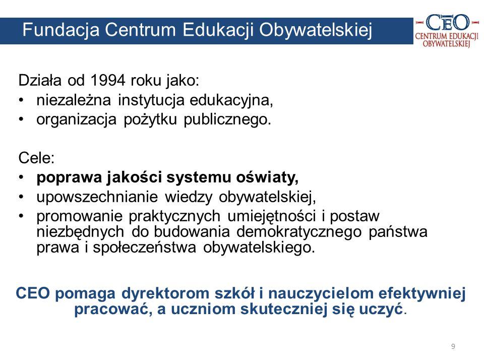 9 Działa od 1994 roku jako: niezależna instytucja edukacyjna, organizacja pożytku publicznego. Cele: poprawa jakości systemu oświaty, upowszechnianie