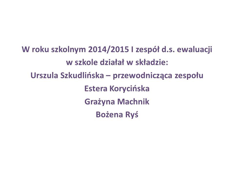 W roku szkolnym 2014/2015 I zespół d.s. ewaluacji w szkole działał w składzie: Urszula Szkudlińska – przewodnicząca zespołu Estera Korycińska Grażyna