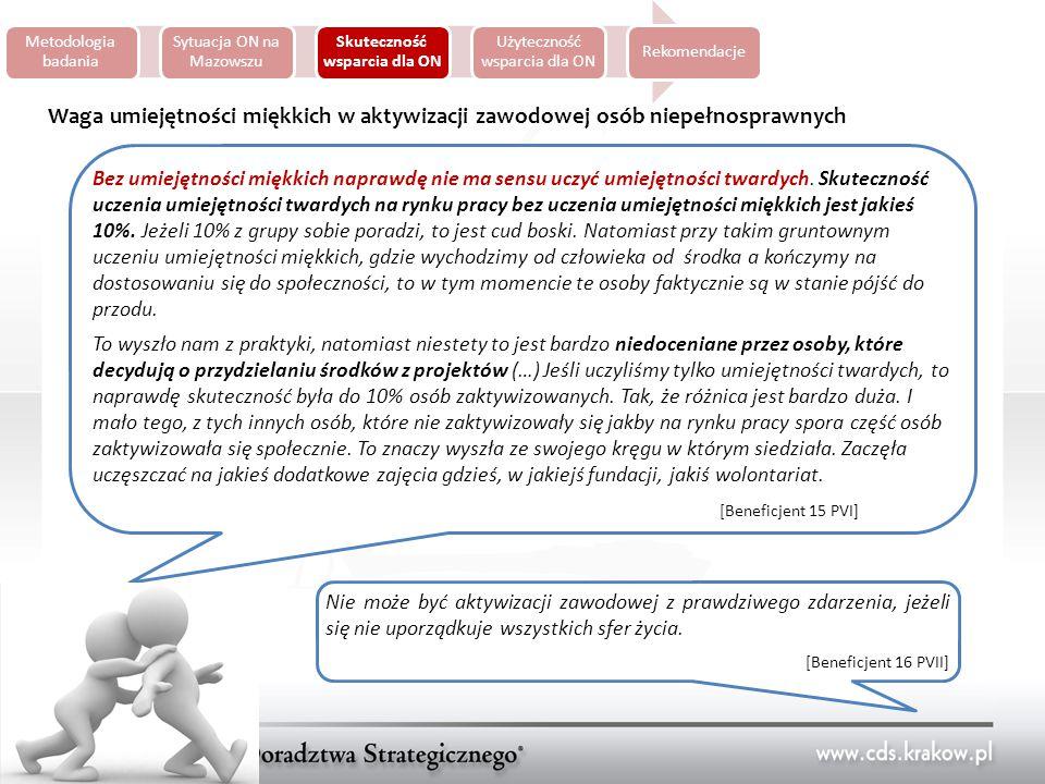 Metodologia badania Sytuacja ON na Mazowszu Skuteczność wsparcia dla ON Użyteczność wsparcia dla ON Rekomendacje Waga umiejętności miękkich w aktywizacji zawodowej osób niepełnosprawnych Bez umiejętności miękkich naprawdę nie ma sensu uczyć umiejętności twardych.
