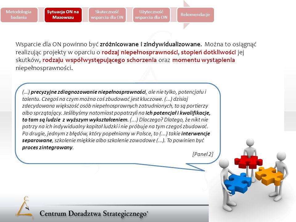Metodologia badania Sytuacja ON na Mazowszu Skuteczność wsparcia dla ON Użyteczność wsparcia dla ON Rekomendacje Słabością instytucji działających na rzecz ON jest ich wąska specjalizacja i nadmierna koncentracja na konkretnym rodzaju wsparcia (...) jeżeli chodzi o oferowane wsparcie to podstawową słabością jest fakt, że one oferują jakby takie odrębne segmenty wsparcia, a więc szkolenia, a więc terapie, a nie ma takich zintegrowanych usług, które by poprowadziły osobę niepełnosprawną przez cały proces łącznia, czyli ze wsparciem psychologicznym, ze szkoleniem, ze znalezieniem pracy.