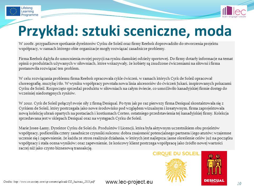 www.lec-project.eu Przykład: sztuki sceniczne, moda Credits: http://www.co-society.com/wp-content/uploads/CO_business_2013.pdf 10 W 2008r. przypadkowe