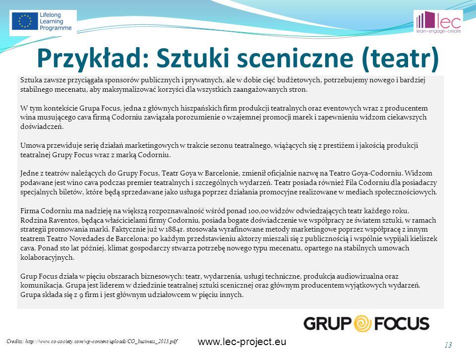 www.lec-project.eu Przykład: Sztuki sceniczne (teatr) Credits: http://www.co-society.com/wp-content/uploads/CO_business_2013.pdf 13 Sztuka zawsze przy