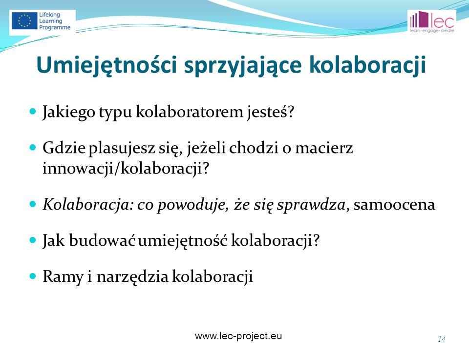 www.lec-project.eu Umiejętności sprzyjające kolaboracji Jakiego typu kolaboratorem jesteś? Gdzie plasujesz się, jeżeli chodzi o macierz innowacji/kola