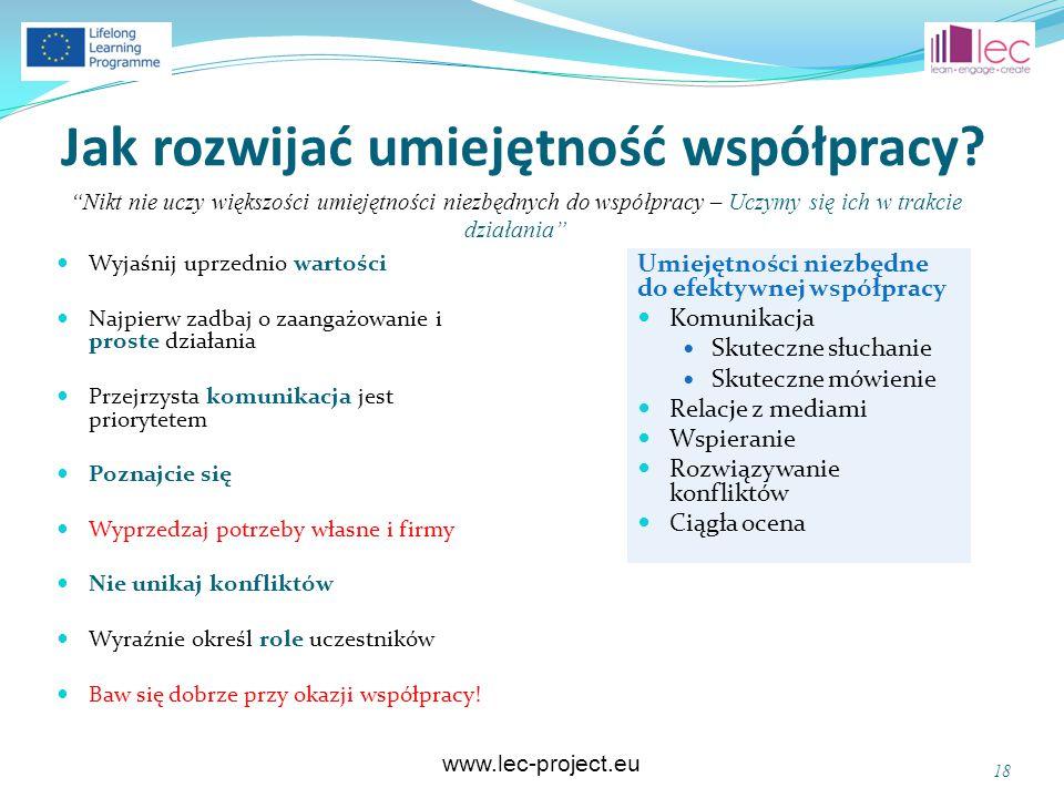 www.lec-project.eu Jak rozwijać umiejętność współpracy? Wyjaśnij uprzednio wartości Najpierw zadbaj o zaangażowanie i proste działania Przejrzysta kom