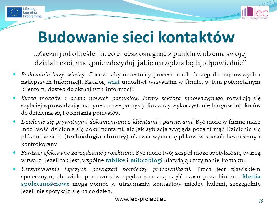 www.lec-project.eu Budowanie sieci kontaktów Budowanie bazy wiedzy. Chcesz, aby uczestnicy procesu mieli dostęp do najnowszych i najlepszych informacj