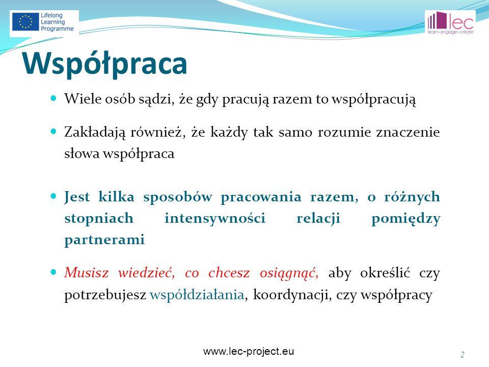 www.lec-project.eu Współpraca Wiele osób sądzi, że gdy pracują razem to współpracują Zakładają również, że każdy tak samo rozumie znaczenie słowa wspó