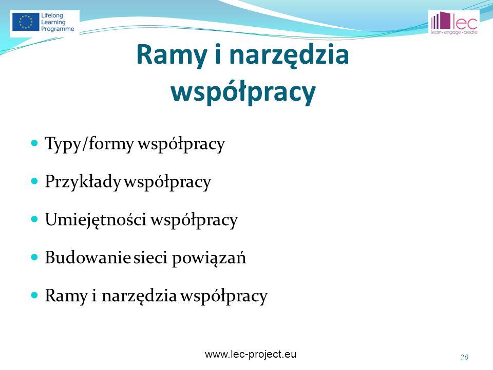 www.lec-project.eu Ramy i narzędzia współpracy Typy/formy współpracy Przykłady współpracy Umiejętności współpracy Budowanie sieci powiązań Ramy i narz