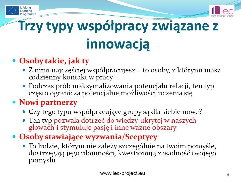 www.lec-project.eu Cztery sposoby współpracy 7 Centrum innowacyjneInnowacyjna społeczność UCZESTNICTWO Otwarte Miejsce, gdzie firma może umieścić opis problemu, każdy może proponować rozwiązanie, a firma wybiera te, które się jej najbardziej spodobają.