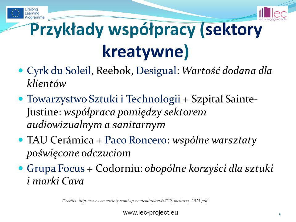 www.lec-project.eu Przykłady współpracy (sektory kreatywne) Cyrk du Soleil, Reebok, Desigual: Wartość dodana dla klientów Towarzystwo Sztuki i Technologii + Szpital Sainte- Justine: współpraca pomiędzy sektorem audiowizualnym a sanitarnym TAU Cerámica + Paco Roncero: wspólne warsztaty poświęcone odczuciom Grupa Focus + Codorniu: obopólne korzyści dla sztuki i marki Cava Credits: http://www.co-society.com/wp-content/uploads/CO_business_2013.pdf 9