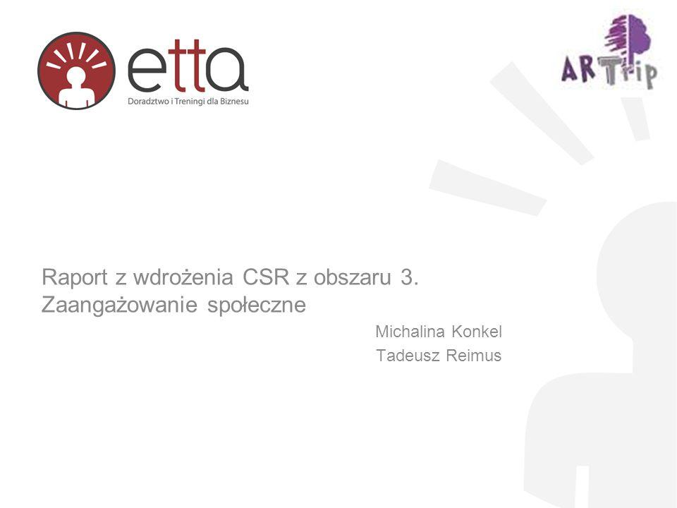 Raport z wdrożenia CSR z obszaru 3. Zaangażowanie społeczne Michalina Konkel Tadeusz Reimus