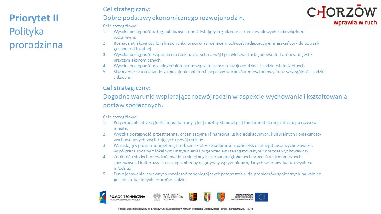 Priorytet II Polityka prorodzinna Cel strategiczny: Dobre podstawy ekonomicznego rozwoju rodzin. Cele szczegółowe: 1.Wysoka dostępność usług publiczny