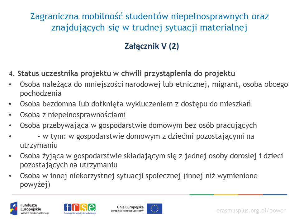 erasmusplus.org.pl/power Zagraniczna mobilność studentów niepełnosprawnych oraz znajdujących się w trudnej sytuacji materialnej 4. Status uczestnika p