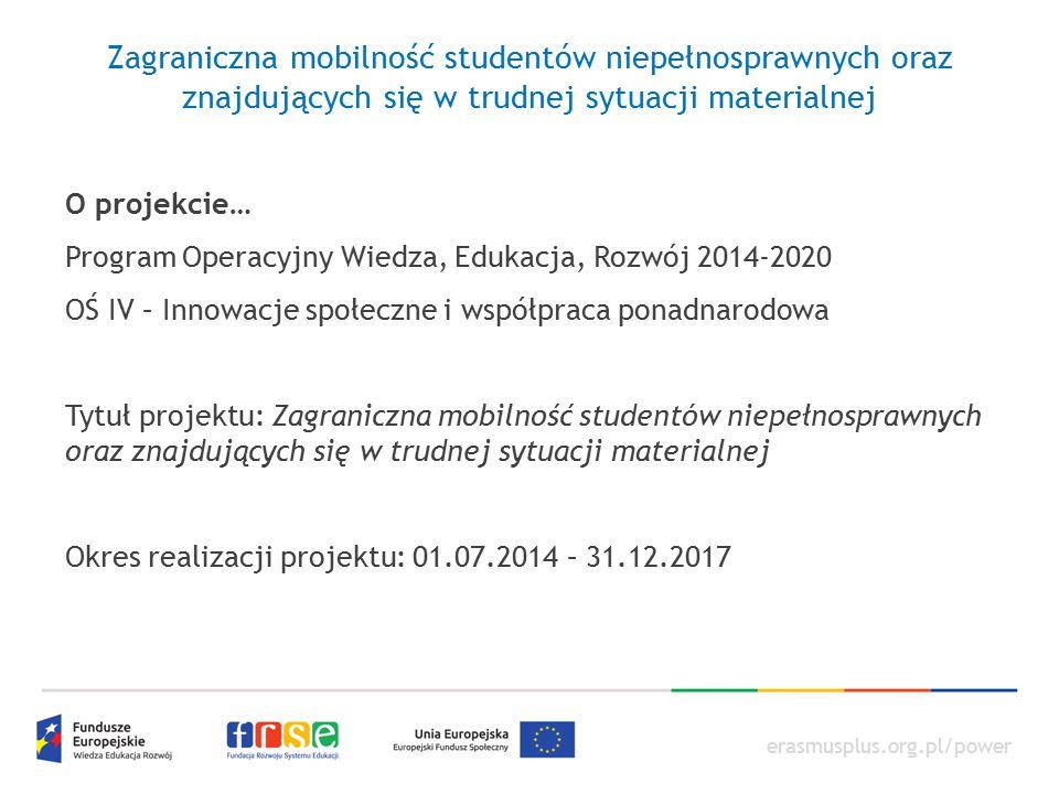 erasmusplus.org.pl/power O projekcie… Program Operacyjny Wiedza, Edukacja, Rozwój 2014-2020 OŚ IV – Innowacje społeczne i współpraca ponadnarodowa Tyt
