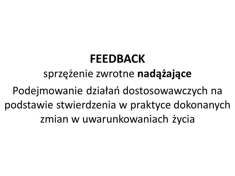 FEEDBACK sprzężenie zwrotne nadążające Podejmowanie działań dostosowawczych na podstawie stwierdzenia w praktyce dokonanych zmian w uwarunkowaniach życia
