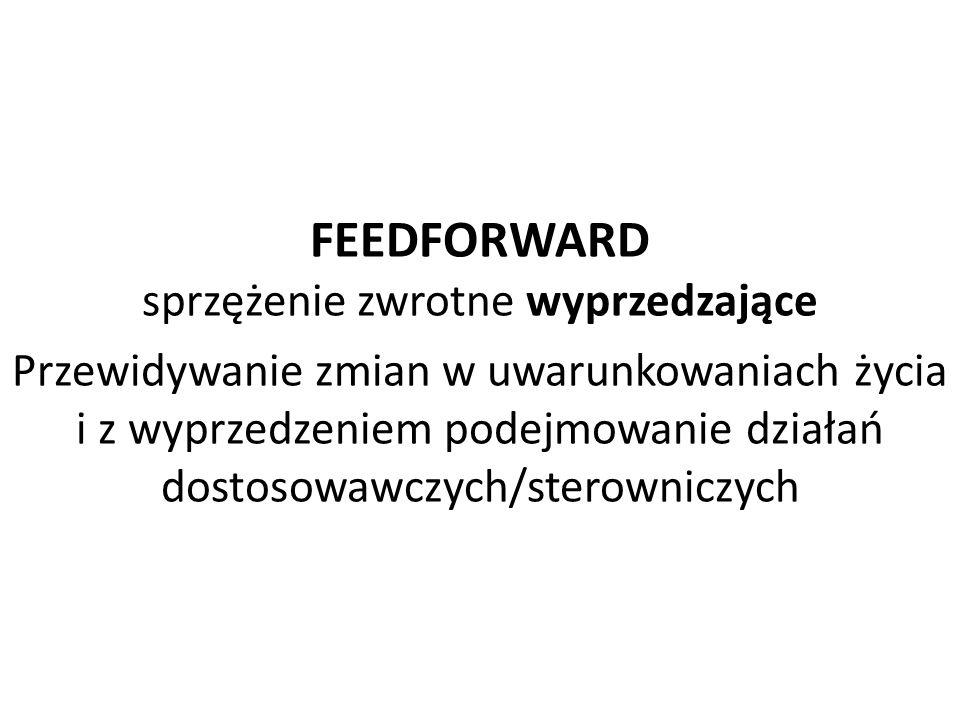 FEEDFORWARD sprzężenie zwrotne wyprzedzające Przewidywanie zmian w uwarunkowaniach życia i z wyprzedzeniem podejmowanie działań dostosowawczych/sterowniczych