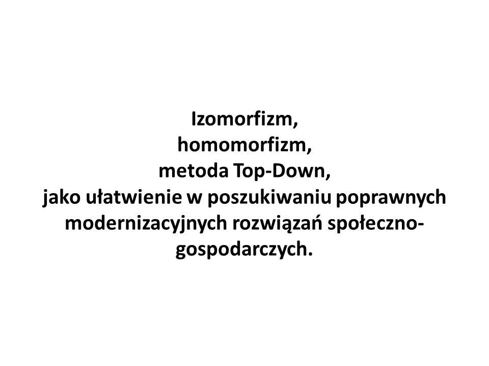 Izomorfizm, homomorfizm, metoda Top-Down, jako ułatwienie w poszukiwaniu poprawnych modernizacyjnych rozwiązań społeczno- gospodarczych.