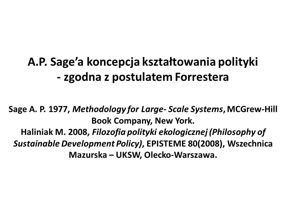 A.P. Sage'a koncepcja kształtowania polityki - zgodna z postulatem Forrestera Sage A.