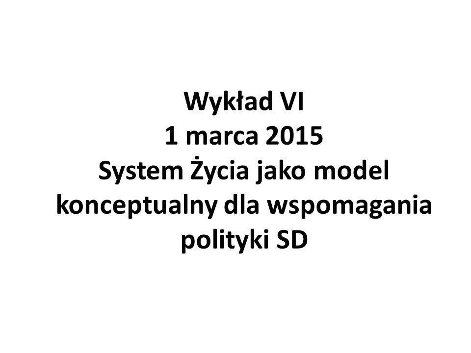 Wykład VI 1 marca 2015 System Życia jako model konceptualny dla wspomagania polityki SD