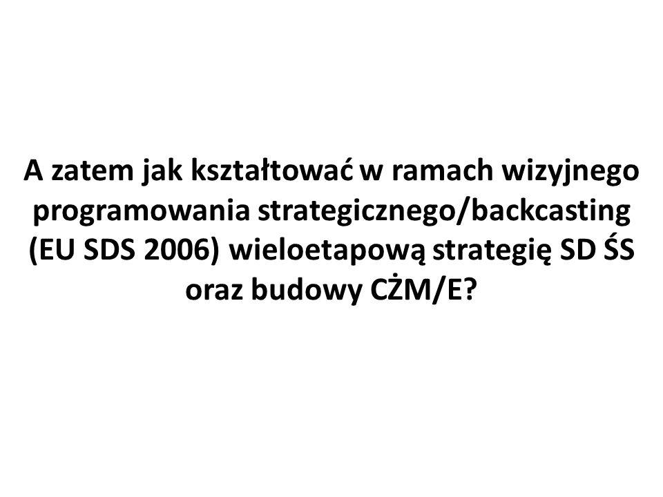 A zatem jak kształtować w ramach wizyjnego programowania strategicznego/backcasting (EU SDS 2006) wieloetapową strategię SD ŚS oraz budowy CŻM/E