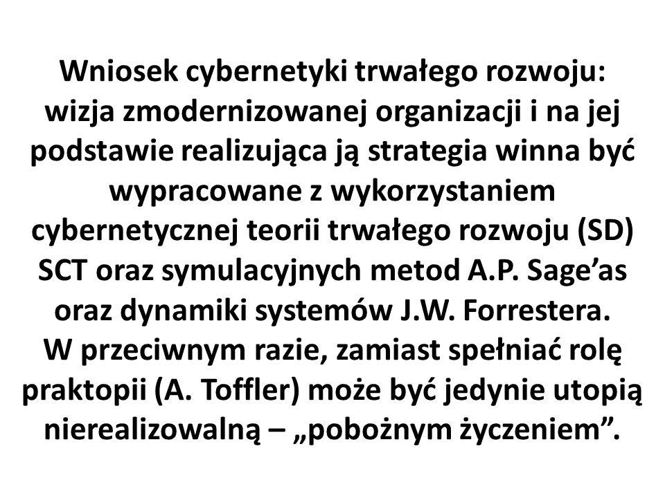 Wniosek cybernetyki trwałego rozwoju: wizja zmodernizowanej organizacji i na jej podstawie realizująca ją strategia winna być wypracowane z wykorzystaniem cybernetycznej teorii trwałego rozwoju (SD) SCT oraz symulacyjnych metod A.P.
