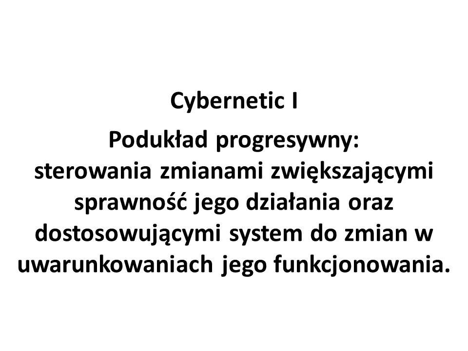 Cybernetic I Podukład progresywny: sterowania zmianami zwiększającymi sprawność jego działania oraz dostosowującymi system do zmian w uwarunkowaniach jego funkcjonowania.