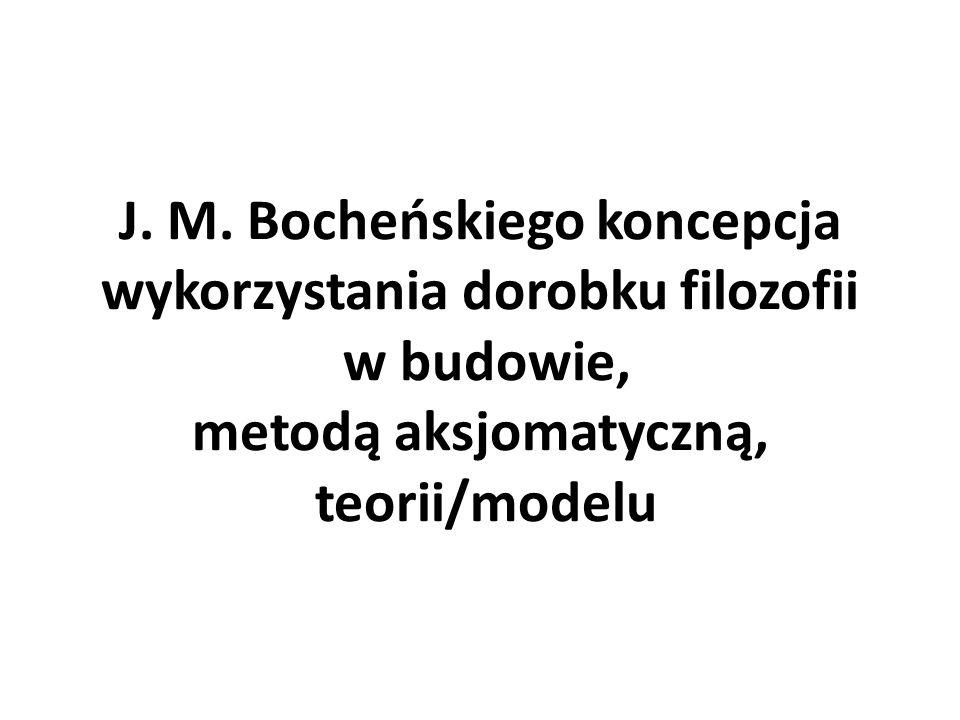 Metoda aksjomatyczna Forrestera – Bocheńskiego jako sposób budowy ogólnego modelu konceptualnego: pojęcia niedefiniowane pojęcia zdefiniowane (za pomocą pojęć niedefiniowanych) aksjomaty, logiczne wnioskowanie badanie adekwatności modelu/teorii do rzeczywistości