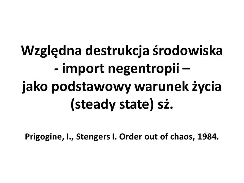 Względna destrukcja środowiska - import negentropii – jako podstawowy warunek życia (steady state) sż.
