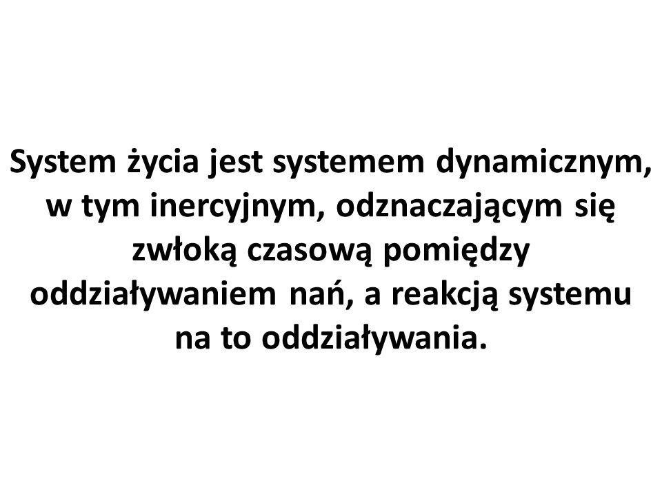 System życia jest systemem dynamicznym, w tym inercyjnym, odznaczającym się zwłoką czasową pomiędzy oddziaływaniem nań, a reakcją systemu na to oddziaływania.