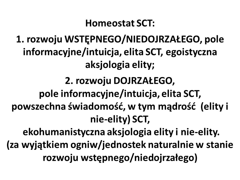 Homeostat SCT: 1.