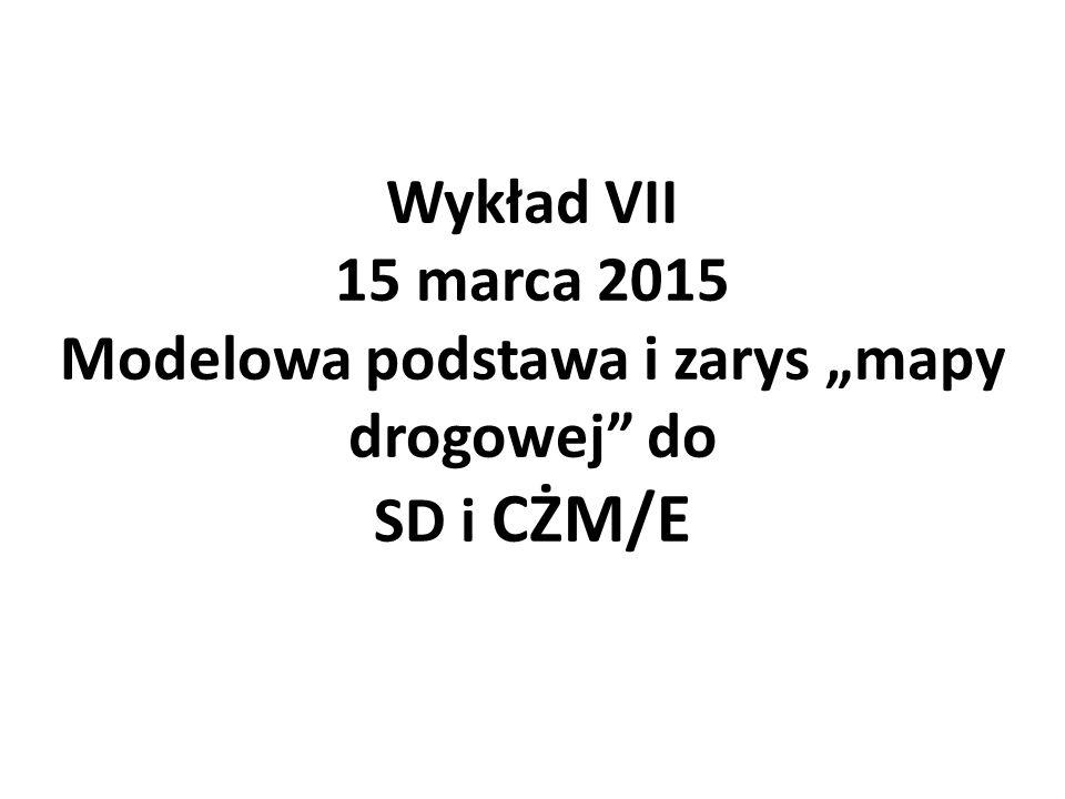 """Wykład VII 15 marca 2015 Modelowa podstawa i zarys """"mapy drogowej do SD i CŻM/E"""