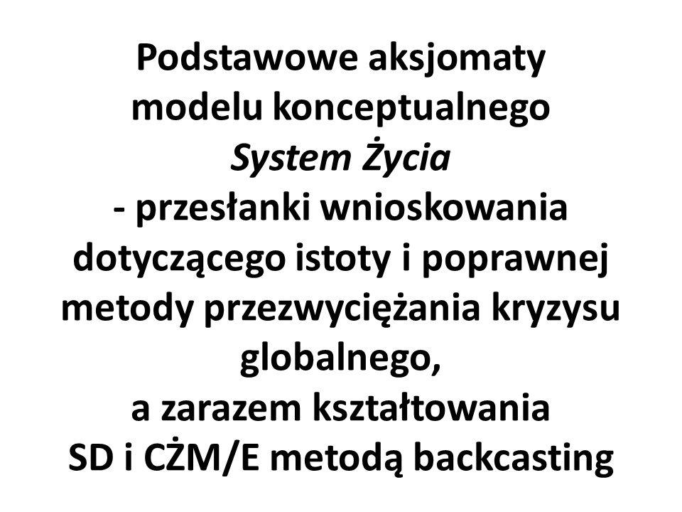 Podstawowe aksjomaty modelu konceptualnego System Życia - przesłanki wnioskowania dotyczącego istoty i poprawnej metody przezwyciężania kryzysu globalnego, a zarazem kształtowania SD i CŻM/E metodą backcasting