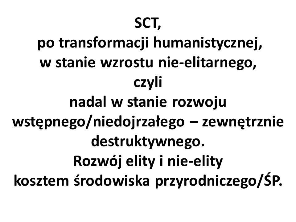 SCT, po transformacji humanistycznej, w stanie wzrostu nie-elitarnego, czyli nadal w stanie rozwoju wstępnego/niedojrzałego – zewnętrznie destruktywnego.