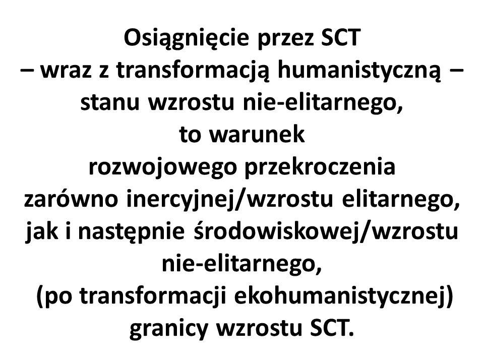 Osiągnięcie przez SCT – wraz z transformacją humanistyczną – stanu wzrostu nie-elitarnego, to warunek rozwojowego przekroczenia zarówno inercyjnej/wzrostu elitarnego, jak i następnie środowiskowej/wzrostu nie-elitarnego, (po transformacji ekohumanistycznej) granicy wzrostu SCT.